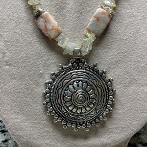 Jewelry - Handcrafted long Agate & Jasper necklace